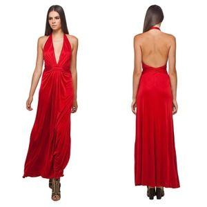 [Issa] London Red Silk Plunge Neckline Maxi Dress